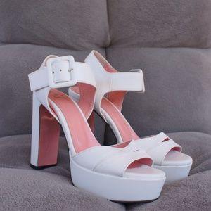 Glamoorous JF London White Strapy  Block Heels